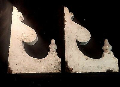 "Large Antique Pair Wood Corbels Shabby Cottage Chic Vtg Approx 11 3/4"" x 17"" #3"