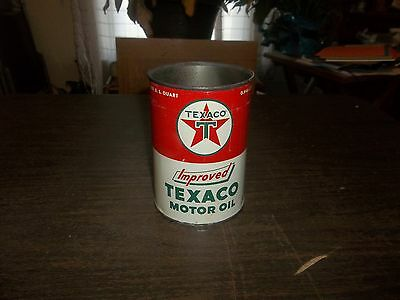 Vintage Improved Texaco Motor Oil Empty Metal Quart Oil Can Gas Station!