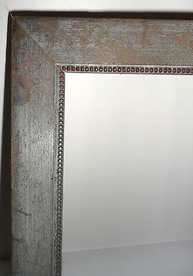 Antique Vtg 1920s Carved Beaded Wood Painted Art Deco Rustic Picture Frame 21x7