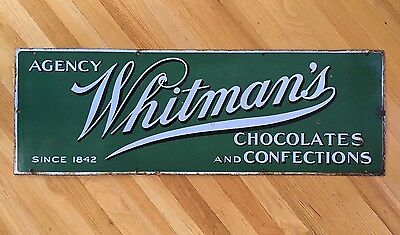 """Vintage 1930s Whitman's Chocolates 40"""" Porcelain General Store Advertising Sign"""