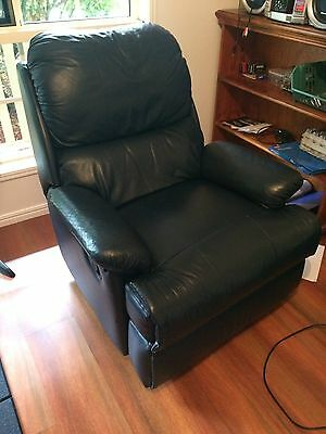 Dark Blue Leather and Vinyl Recliner / Chair