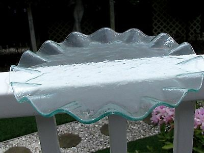 """ANNIEGLASS RUFFLED EDGE PLATTER:  Round, 13"""", Pale Green, Unsigned, Prototype"""