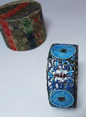 Rare antique Chinese enamel bangle with original box