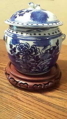 Early Antique Chinese  Blue & White Lidded Pot / Jar Tureen Kamcheng