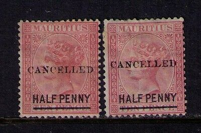 "MAURITIUS Stamps, SC# 46-47, ""CANCELLED"" OVPT. MNG/MH"