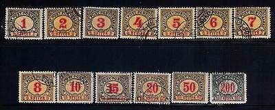 Bosnia and Herzegovina 1904 postage due complete used/Mint set Sc. #J1 - J13