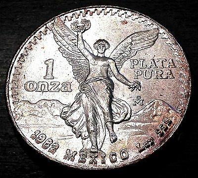 Silver Onza, 1982, * Dbl Die Obverse* .999 Silver, Very Nice Uncirculated Coin!