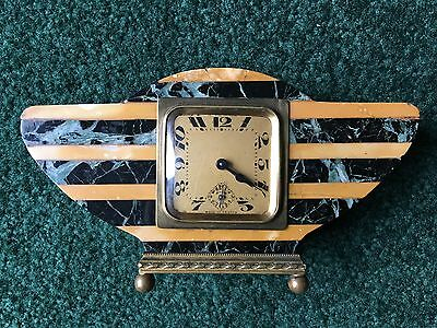 French Art Deco Wing Clock late 1920's Marble