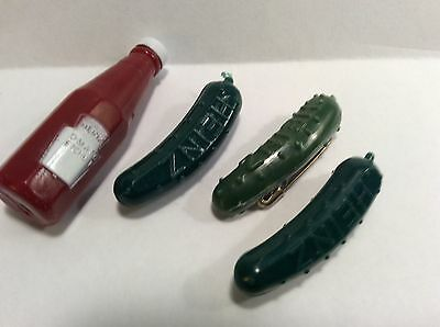 3 Heinz Pickle Pins (1 Vintage) and 1 Heinz Tomato Ketchup Bottle Pin Lot