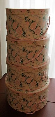 Lot of 4 Vintage Shabby Pink Rose Hat Boxes