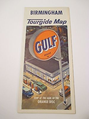 Vintage GULF BIRMINGHAM AL City Street Tourgide Oil Gas Service Station Road Map