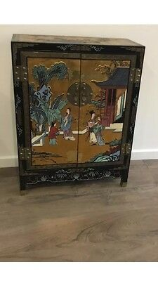 Oriental Asian Chinese Timber Patterned Cabinet Cupboard