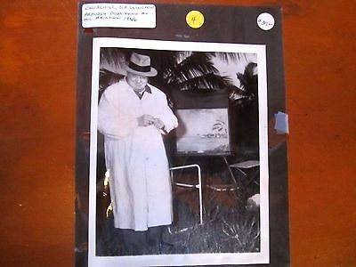 Winston Churchill Proudly Presenting Oil Painting 1946 - Associated Press Photo