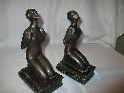 Pair (2) Antique ART DECO Era NUDE LADY on BOOK Painted STATUE Figural BOOKENDS