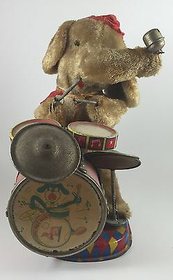 1950s ALPS Elephant Drumming Battery Operated Tin Toy Japan, TESTED & WORKS
