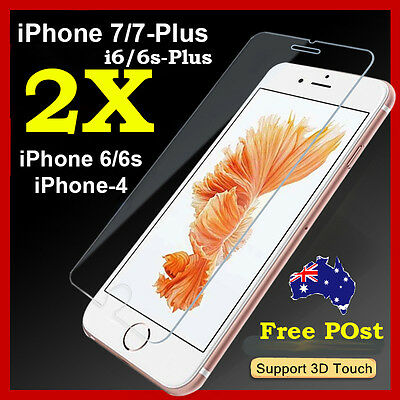 2x Scratch Resist Tempered Glass Screen Protector for Apple iPhone 7 6s 6 Plus X