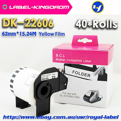 40Rolls Brother Compatible DK-22606 Label Yellow Coated Come With Plastic Holder