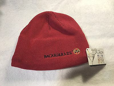 New**Bacardi Razz Winter Hat- Beanie, Red, Fleece lined, Collectors