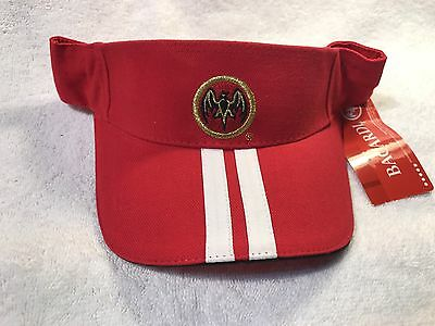 New**Bacardi RUM  Visor , Red, Velcro strap, Golf, Tennis, Beach--Bat Logo