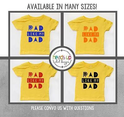 Father's Day Shirt Toddler Boy/Girl Rad Like Dad Baby Bodysuit New Dad Gift Tees