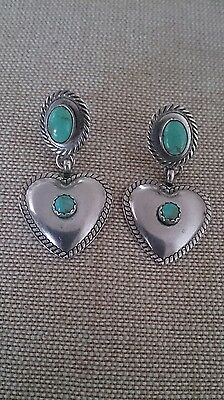 Vintage navajo turquoise heart concho sterling silver 925 earrings