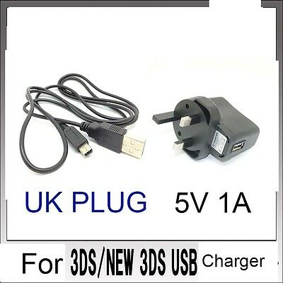 NEW UK POWER AC CHARGER CABLE  For Nintendo DSi NDSi DSiXL 3DS 3DSXL/LL 3DS