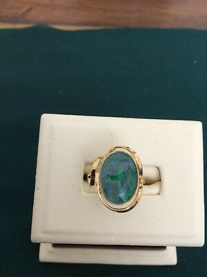 9ct Yellow Gold Triplet Opal Ring Size M 1/2