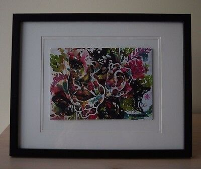 ART PRINT Watercolour SIGNED Girl Floral Paper Pastel Renee Riotto Wall Decor
