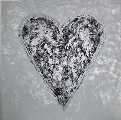 The Shape Of My Heart Original Painting Art Work Silver Grey Large Canvas 100cm