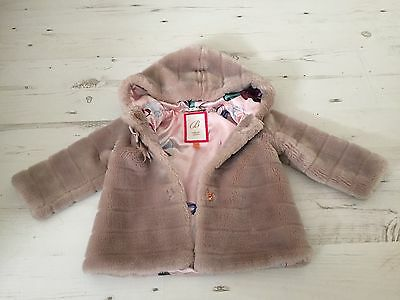 Ted Baker Baby Girls Coat Faux Fur Bow 12-18 Months