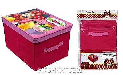 Disney Minnie Mouse Childrens Foldable Storage Box Toy Clothes Bedroom Pink W19
