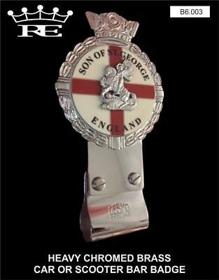 Royale Heavy Chromed Brass Car Badge - SON OF ST GEORGE + Desmo Clip - B6.003