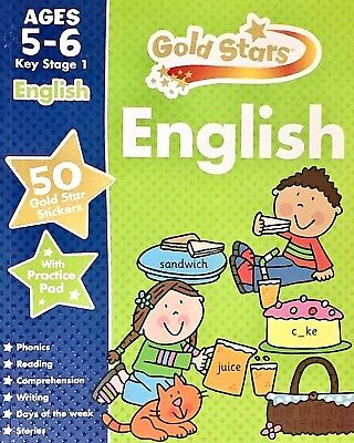 English | Age 5-6 | Key Stage 1 |Book, 50 Stickers & Practice Pad|Gold Stars|New
