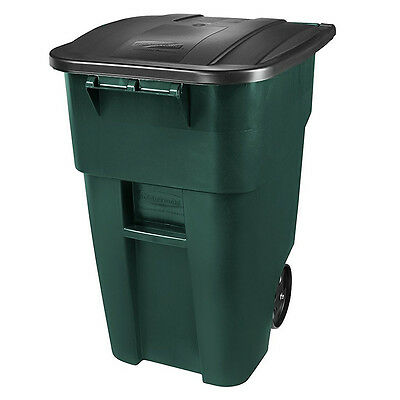 Mobile Green Plastic Recycle Bin 50Gal W/ Lid Waste Trash Container 8in Wheel