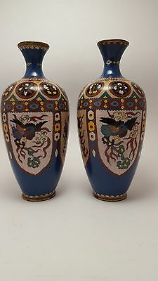 Pair Japanese Antique Meiji Period Cloisonne Vases In Excellent Condition