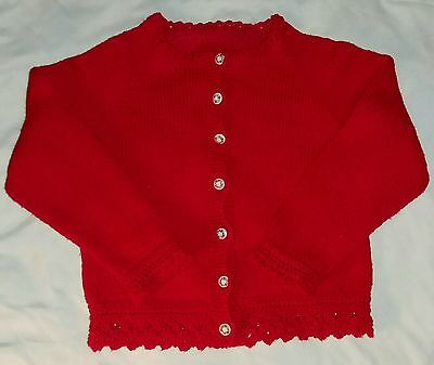 Vtg Hand Knit Red Cardigan Sweater Porcelain Buttons Crochet Trim Toddler Sz M