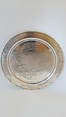 Antique Chinese Export Silver Tray Salver Decorated With Engraved Bamboo