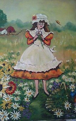 """Oil painting framed. to 10 x 14 Signed """"Country Girl"""" by Waschler"""