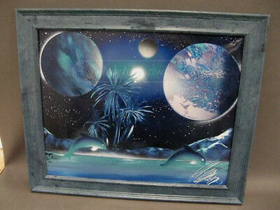 Sci-Fi painting of Dolphins at play on a planet with 4 moons. 24 x 20 and framed