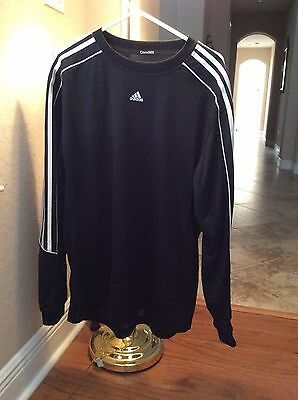 Men's Adidas Long Sleeve Black and White Top Size Large Polyester