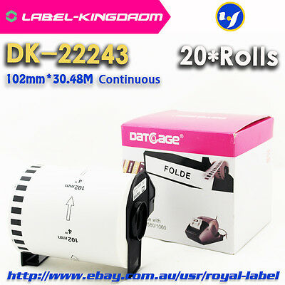 20Rolls Brother DK-22243 Compatible Label 102mmX30.48M Come With Plastic Holder