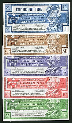 Canadian Tire Money Lot of 5 Notes  5, 10, 25, 50 Cents & $1.00 notes