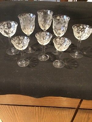 Vintage stemware etched Flowers Lot