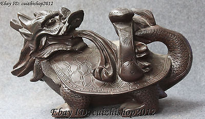 """14"""" Chinese Fengshui Boxwood Wood Dragon Tortoise Dragons Turtle Turtles Statue"""
