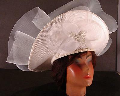 Women's Kentucky Derby Wedding Church Hat White With Pearl & Bead Accents