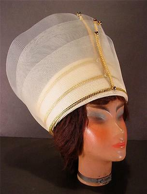 Women's  Wedding Church Hat Cream & Gold