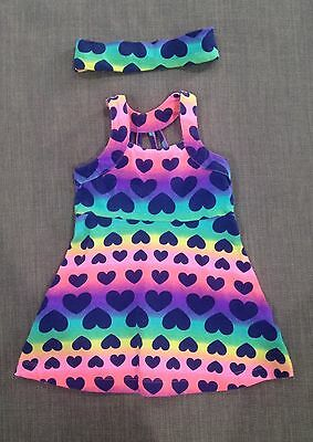 Baby Girls Colourful Love Heart Outfit Set EC, Size 0