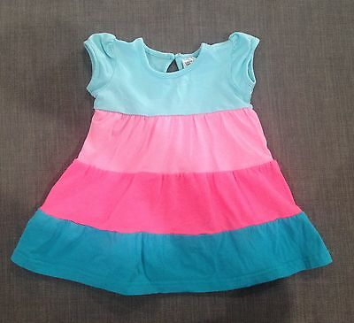 Baby Girls Pink And Blue Romper Dress GUC, Size 0