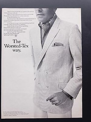 1968 Vintage Print Ad | WORSTED-TEX | 1960s Jacket Men's Fashion Style