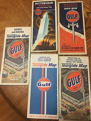 Vintage Lot Of (5) Gulf Oil Company Road Maps Nice Look!